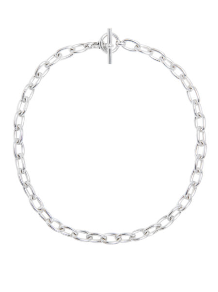 Small Silver Oval Chain Necklace