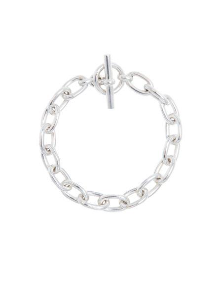 Small Silver Oval Linked Bracelet