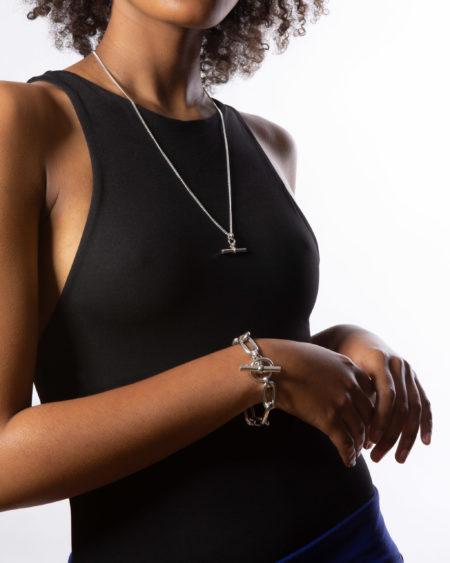 Large Silver Oval Linked Bracelet