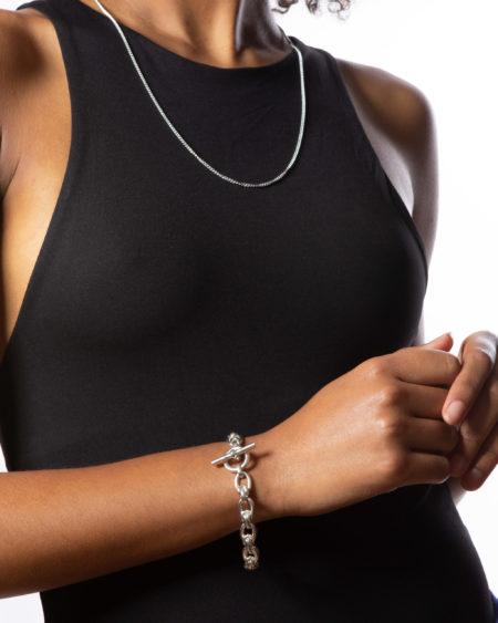 Small Silver Double Link Bracelet