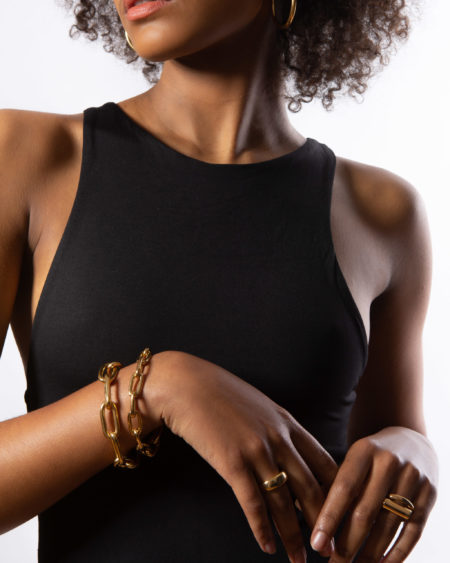 Medium Gold Oval Linked Bracelet