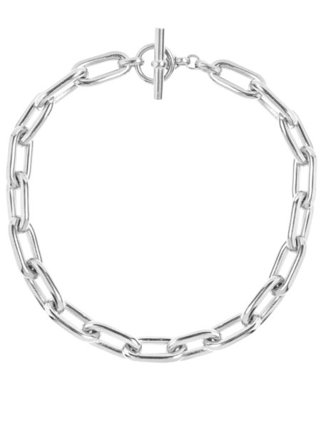 Large Silver Oval Link Necklace