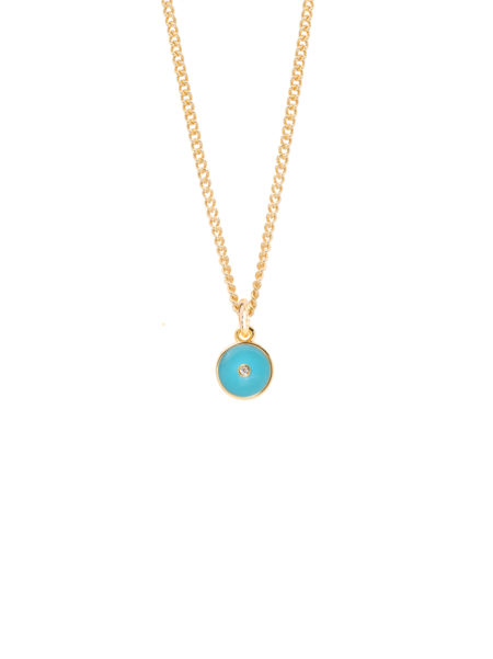 Turquoise Enamel Diamond Disc On Fine Curb Chain