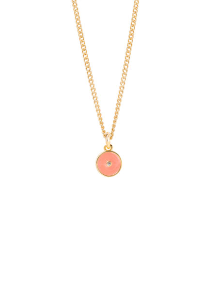 Coral Enamel Disc On Fine Curb Chain