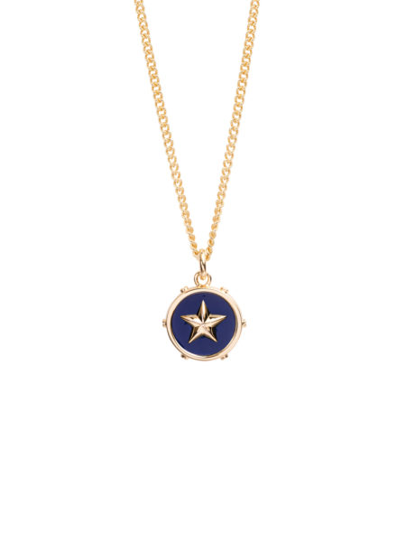 Blue Enamel Disc With Gold Star On Fine Curb Chain