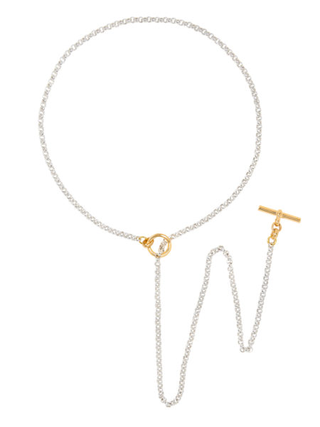 Silver And Gold Lariat Necklace